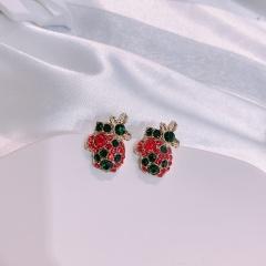 Christmas Gloves Colorful Diamond Stud Earrings Crystal