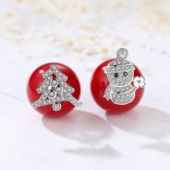 Red Christmas Snowflake Elk Stud Earrings Jewelry Wholesale Tree Snowman