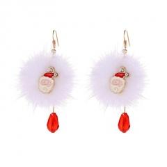 Santa Claus Deer White Pompoms Red Crystal Christmas Earrings Santa Claus