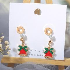 3 Pairs/Card Christmas Series Pearl Stud Earrings Jewelry Wholesale Bells