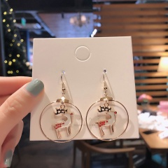 Christmas Circle White Elk Dangle Stud Earrings Jewelry Wholesale Fawn
