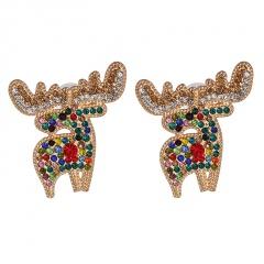 Christmas Series Elk Full Diamond Stud Earrings Multicolor