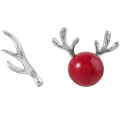 Snowflake Diamond Pearl Christmas Earrings Jewelry Elk