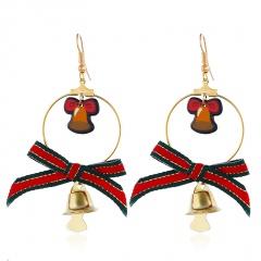 Christmas Snowman Bowknot Hat Elk Bell Earrings Bell