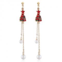 Christmas Tassel Dripping Oil Diamond Pearl Stud Earrings Tree