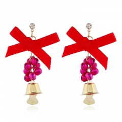 Christmas Series Bow Bell Earrings Jewelry Wholesale Rose Pink