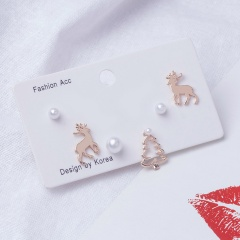 Christmas Snow Pearl Elk Earring Jewelry Set Fawn