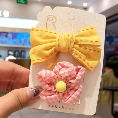 2 Pieces/Set Sweet Bowknot Flower Hair Clip Headwear Wholesale Yellow