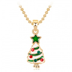 Gold Christmas Series Pendant Bead Chain Necklace Wholesale Christmas Tree