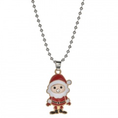 Christmas Series Cute Pendant Beads Chain Necklace Jewelry Santa Claus-A