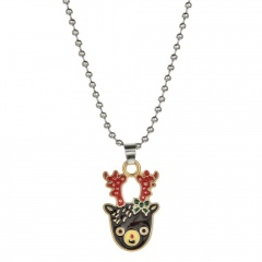Christmas Series Cute Pendant Beads Chain Necklace Jewelry Elk