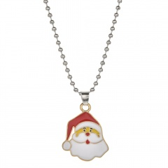 Christmas Series Cute Pendant Beads Chain Necklace Jewelry Santa Claus-B