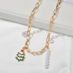Wholesale Christmas Jewelry Pearl with Flower Pendant Chain Necklace Tree