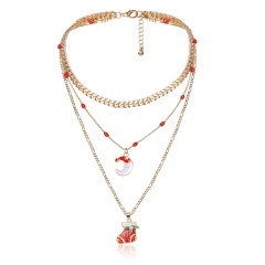 Multilayer Gold Chain Christmas Series Pendant Necklace Wholesale Moon & Sock