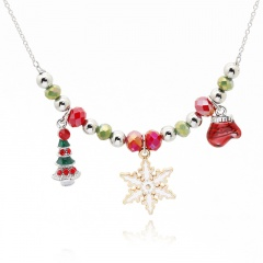 Handmade Beads Gold Chain Christmas Series Necklace Wholesale Snow