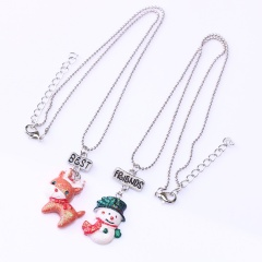 Retro Silver Santa Claus Pendant Chain Necklace Jewelry Wholesale 2 Pieces
