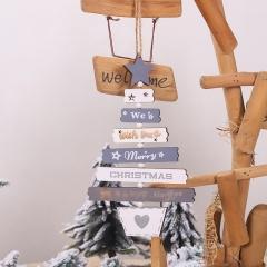 Christmas Tree Lettering Wood Pendant Christmas Ornament Gray