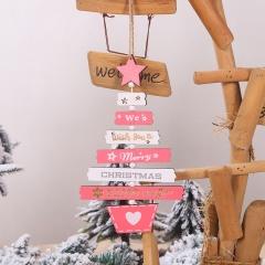 Christmas Tree Lettering Wood Pendant Christmas Ornament Pink