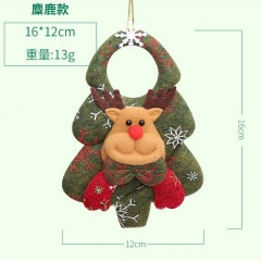 Santa Snowflake Plush Doll Pendant Christmas Ornament Green Elk