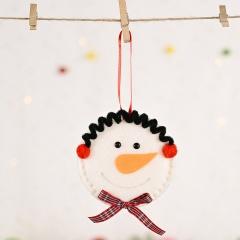 Christmas Red Flannel Bow Snowman Pendant Christmas Ornament Snowman