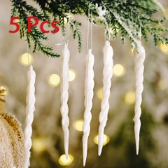 5 Pieces Christmas Icicle Pendant Festival Ornament White