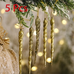 5 Pieces Christmas Icicle Pendant Festival Ornament Gold