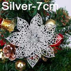 Christmas Flower Onion Powder Hollow Garland Christmas Tree Ornament Silver