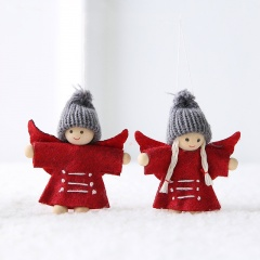 Christmas Wool Felt Angel Couple Doll Ornament Red Angel