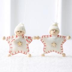 Christmas Wool Felt Angel Couple Doll Ornament White Star
