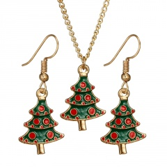 Colorful Gold Christmas Series Pendant Chain Necklace Wholesale Tree