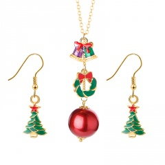 Gold Chain Christmas Tree Dangle Pendant Earring Jewelry Set Wreath & Tree