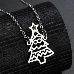 Christmas Tree Stainless Steel Chain Necklace Wholesale Silver