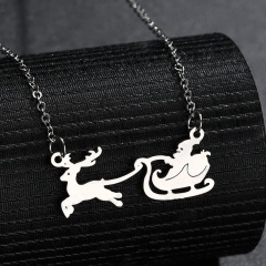 Stainless Steel Santa's Elk Sleigh Chain Necklace Silver