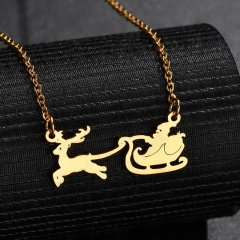 Stainless Steel Santa's Elk Sleigh Chain Necklace Gold