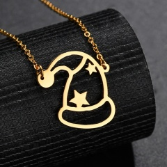 Stainless Steel Star Christmas Hat Hollow Chain Necklace Gold