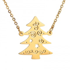 Stainless Steel Christmas Tree Hollow Chain Necklace Gold