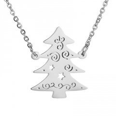 Stainless Steel Christmas Tree Hollow Chain Necklace Silver