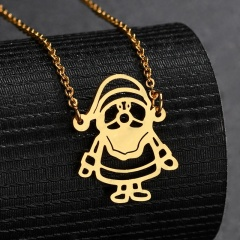 Silver Stainless Steel Santa Claus Hollow Chain Necklace Gold