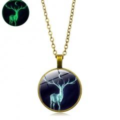 Vintage Round Christmas Elk Time Gemstone Luminous Necklace Gold