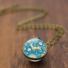 Christmas Elk Double Sided Glass Ball Pendant Chain Necklace Gold