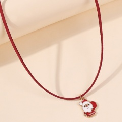 Red Rope Christmas Series Pendant Necklace Wholesale Santa Claus