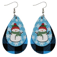 Double Layer Leather Dangle Earrings Christmas Jewelry Wholesale Snowman