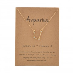12 Constellation Gold Rhinestone Charm Necklace Jewelry Wholesale Aquarius