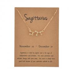 12 Constellation Gold Rhinestone Charm Necklace Jewelry Wholesale Sagittarius