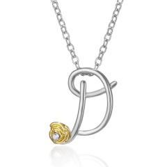Gold Rose Flower Silver English Alphabet Pendant Necklace Wholesale D