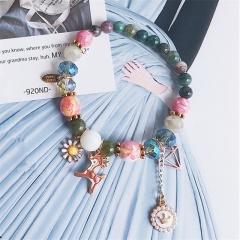 Fawn Flower Gemstone Beads Elastic Bracelets Jewelry Wholesale Green
