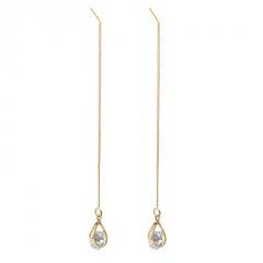 Gemstone Silver Long China Dangle Earring Jewelry Wholesale Gold