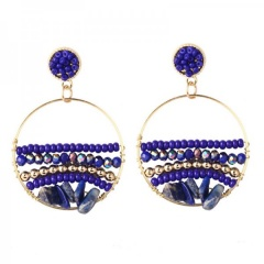 Natural Stone Bohemian Ethnic Style Hand-Woven Earrings Blue
