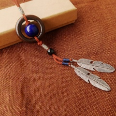 Long Multi color Stone Sweet Rope Necklace Jewelry Wholesale Feather