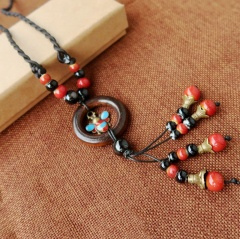 Long Multi color Stone Sweet Rope Necklace Jewelry Wholesale Bee